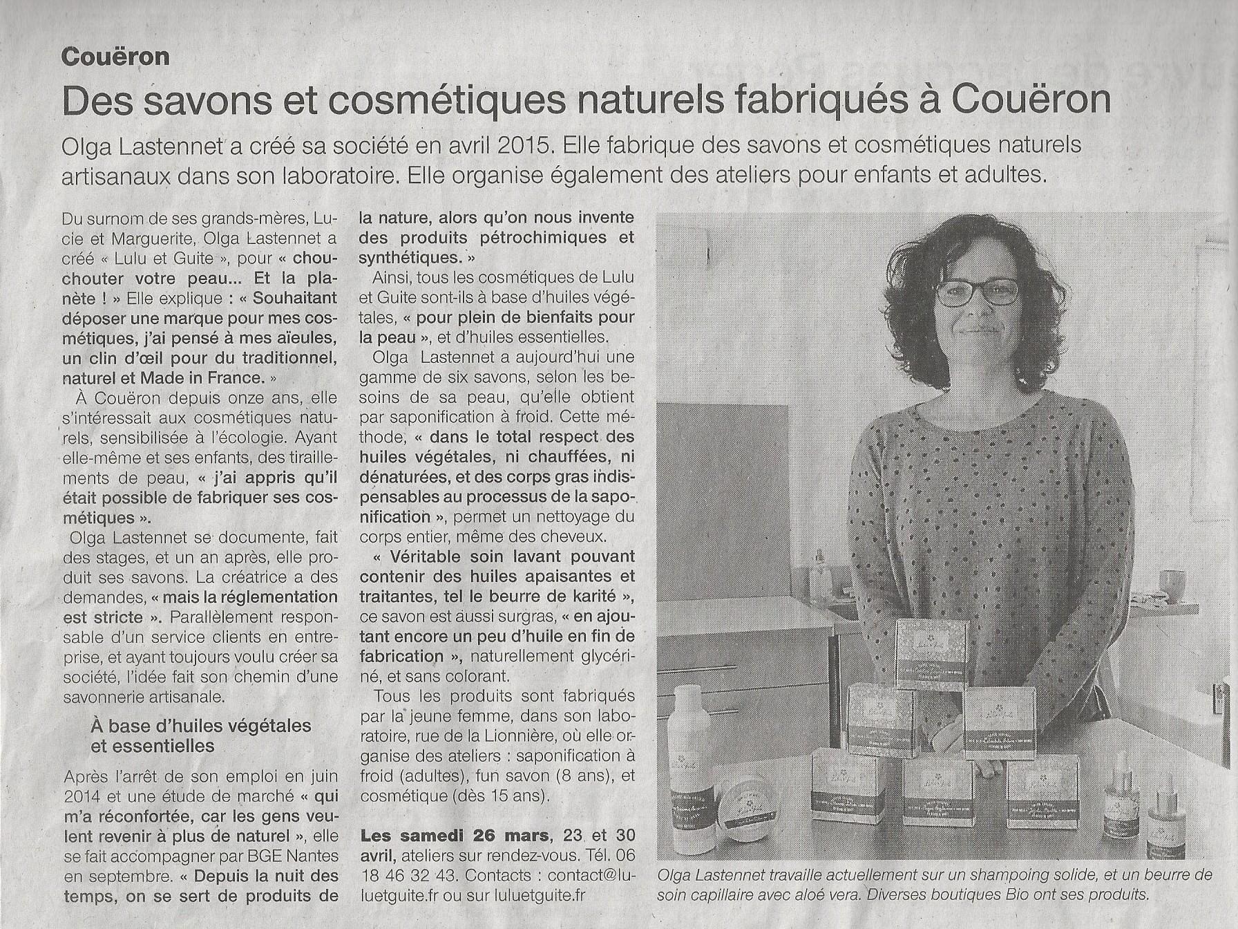 Article Ouest-France du 26 mars 2016