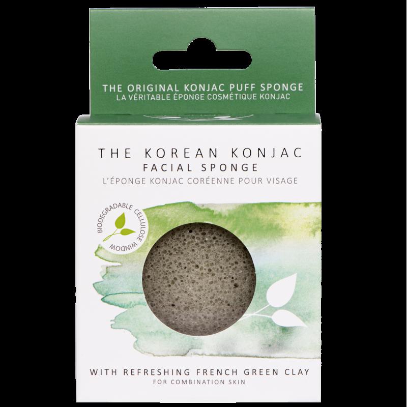 Eponge konjac à l'argile verte pour le visage pour débarrasser les peaux mixtes à grasses des impuretés