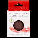 Eponge Konjac visage à l'argile rouge pour peaux sèches et peaux matures. Exfolie et élimine les impuretés