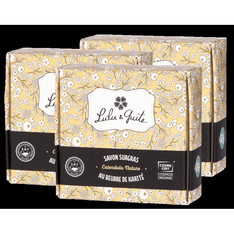 Savon surgras naturel au calendula formulé sans parfum pour peaux sèches et peaux sensibles
