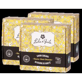 Lot de 3 savons surgras gommants sésame-litsée citronnée