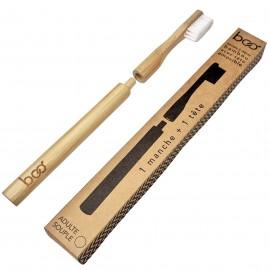 Brosse à dents en bambou avec tête interchangeable - modèle Adulte - Souple