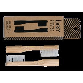 Recharge de 2 têtes de brosse à dent bambou