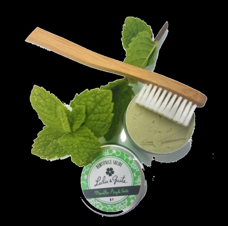 Dentifrice solide à la menthe et brosse à dents en bambou biodégradable et compostable